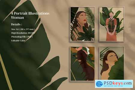 4 Portrait Illustrations Woman print