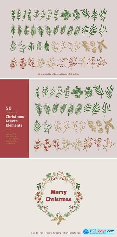 Christmas Leaves Elements Vector
