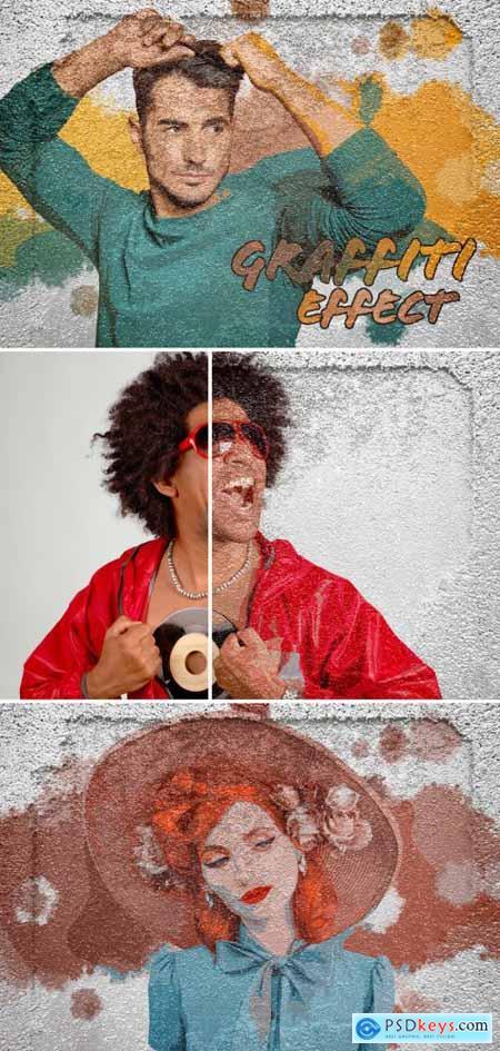 Graffiti Photo Effect on Grunge Wall Texture Mockup 395385746