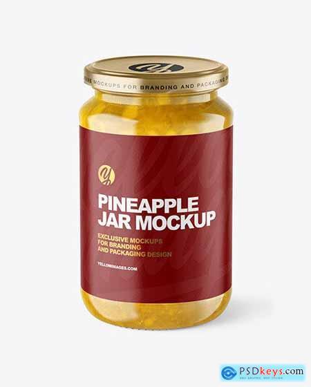Clear Glass Jar with Pineapple jam Mockup 70693