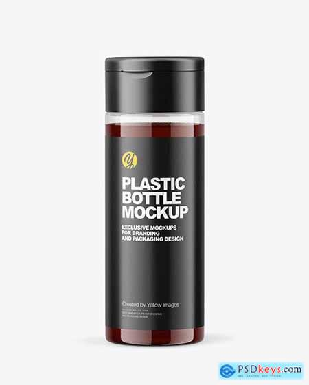 Clear Plastic Bottle with Apple Syrup Mocup 70835