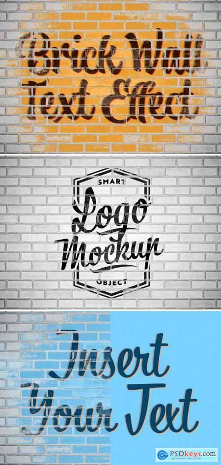 Brick Wall Text Effect Mockup