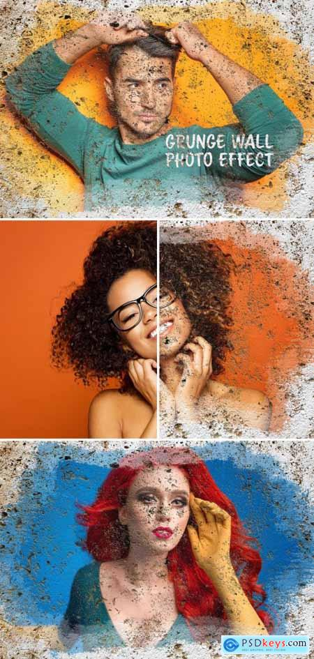 Paint Photo Effect on Grunge Wall Surface Mockup 395386426