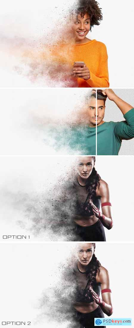 Dispersion Photo Effect with Explosion and Smoke Mockup 395384234
