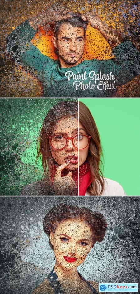 Paint Splashes Graffiti Photo Effect Mockup 398358090