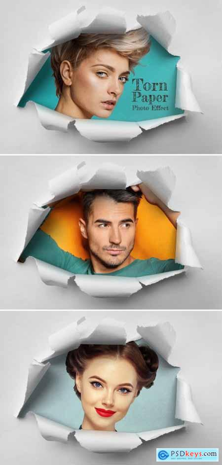 Hole in Torn Paper Sheet Photo Effect Mockup