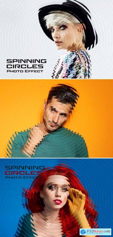 Circles Spinning Glitch Photo Effect Mockup 395383603