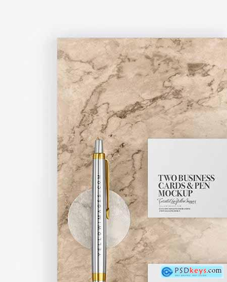 Two Business Cards & Pen with Marble Mockup 70489