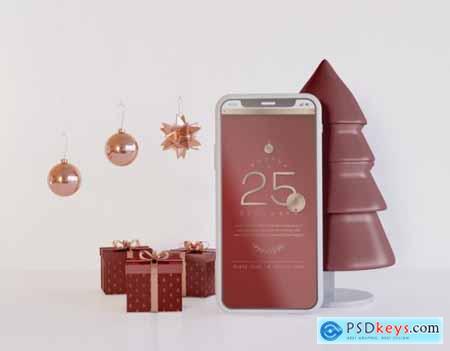 Mockup with Christmas decoration