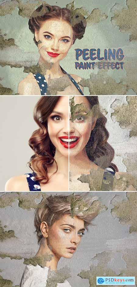 Paint Photo Effect on Peeling Wall Surface Mockup 395389127