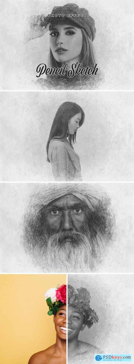 Realistic Pencil Sketch Photo Effect Mockup 394745817