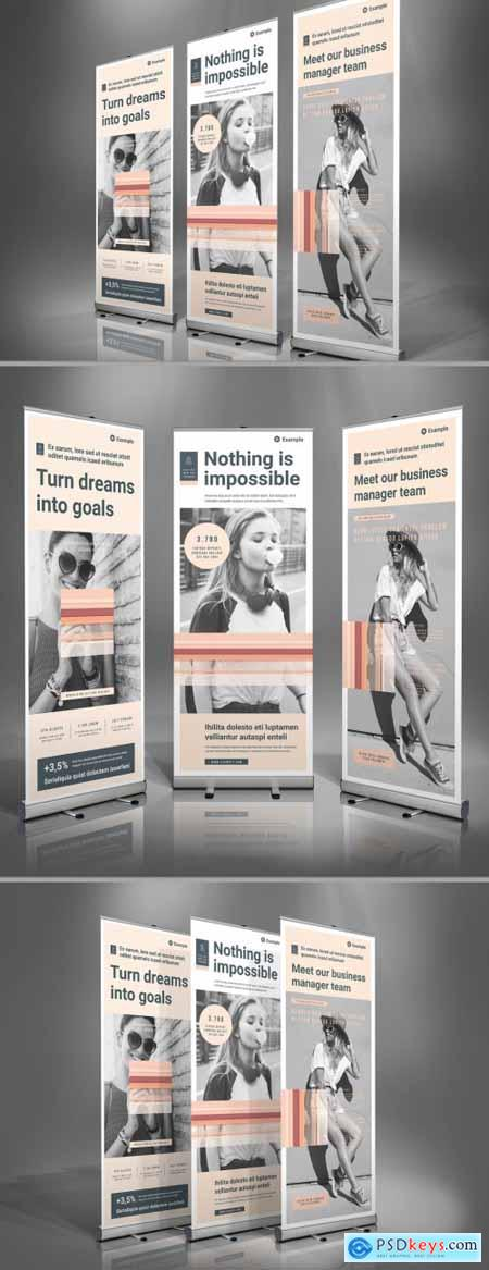 Roll-Up Banner Template with Pale Peach Accents 398328772