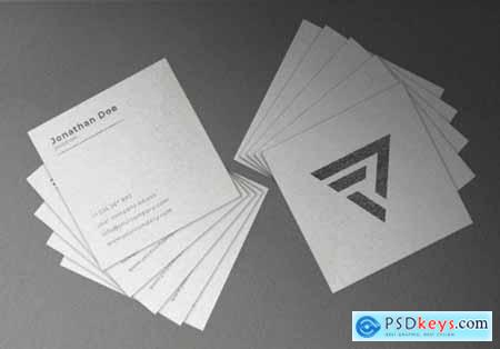 White floating square textured business card mockup