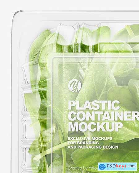 Transparent Plastic Container with Green spinach leaves mockup 70812