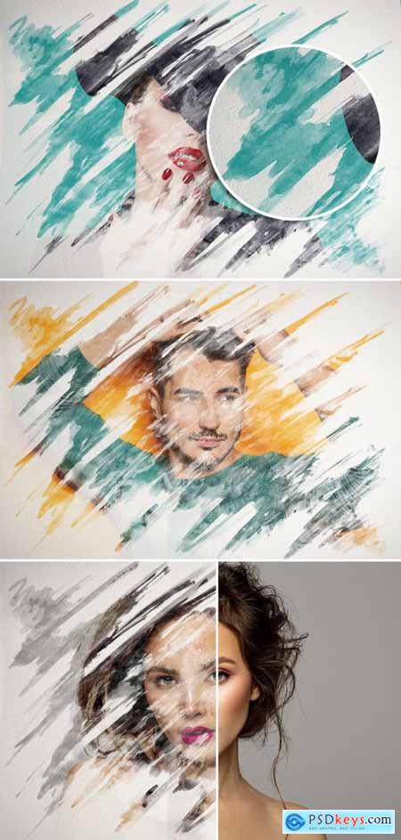 Watercolor Paint Strokes on Paper Texture Photo Effect Mockup