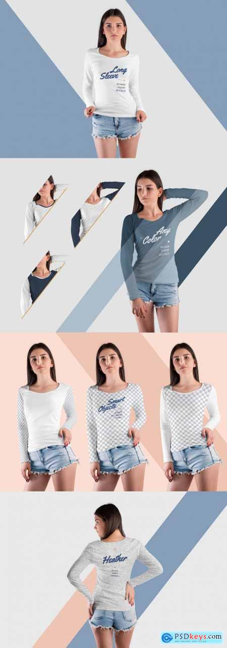 4 Long Sleeve T-Shirt Mockups 398086435 PSD