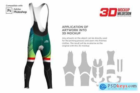 3D Cycling Bib Long Pants Mockup 5539938