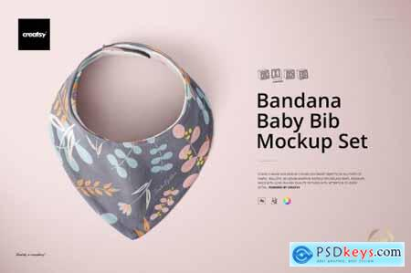 Baby Bandana Bib Mockup Set 4308686