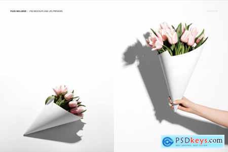 Flowers Packaging Cone Mockup Set 5333963