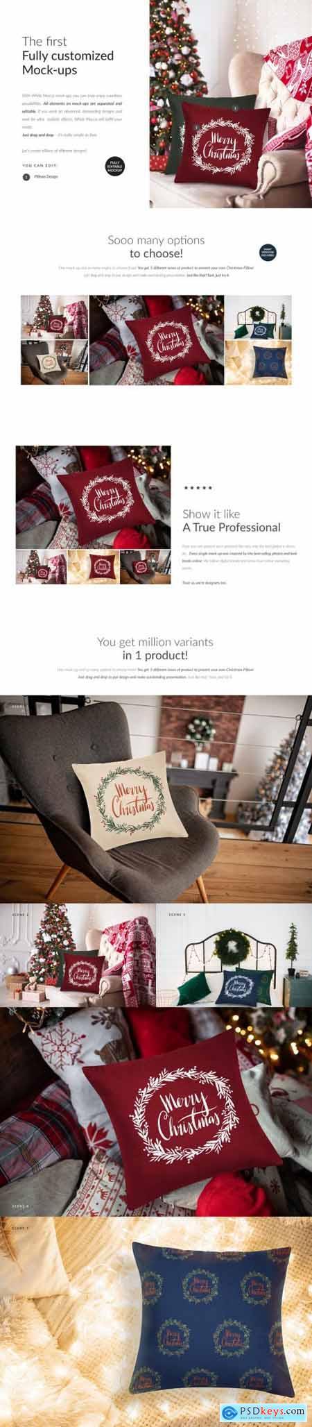 Christmas Pillow Cover Mock-ups Set 5613694