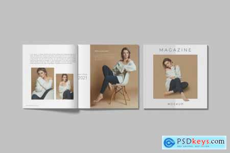 Realistic square magazine mockup