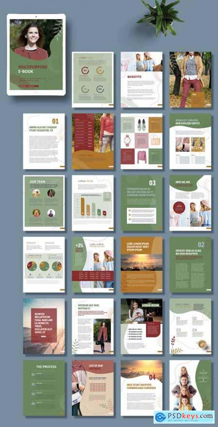 Business E-Book Layout with Green and Maroon Accents 395066382