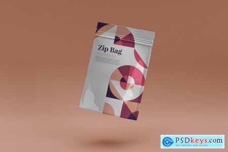 Coffee cup and Zip bag realistic mockup