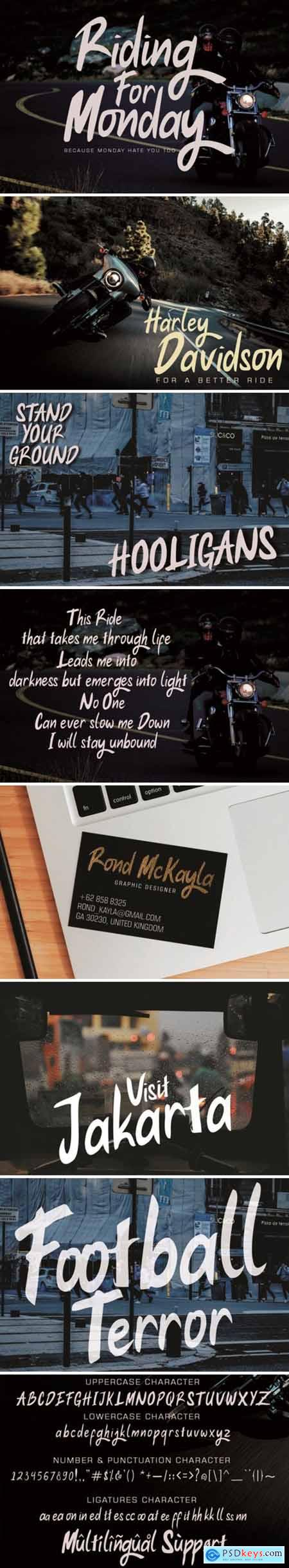 Riding for Monday Font