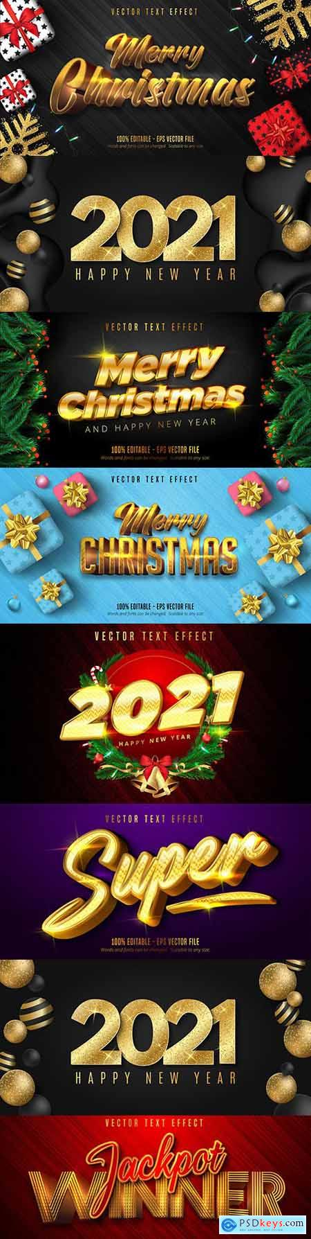 Merry Christmas editable font effect text collection design