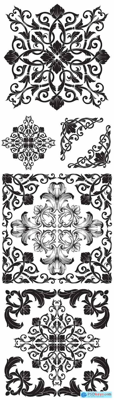 Damask decorative floral vintage pattern design illustrations