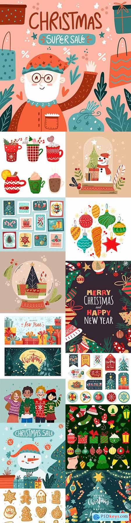 Christmas sales, people in knitted sweaters and temetic hand-drawn illustrations