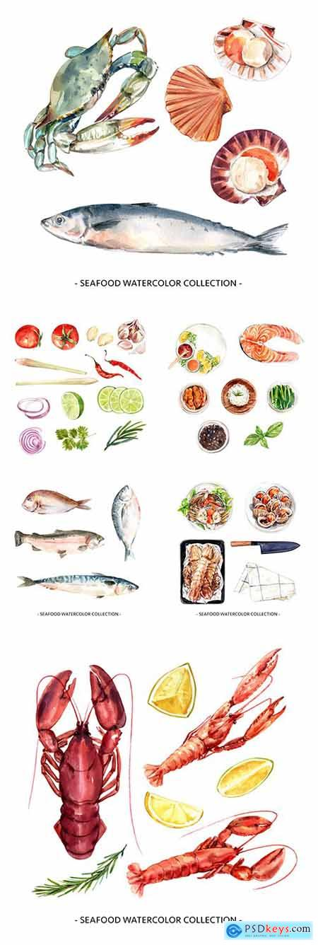 Seafood and vegetables watercolor design illustrations