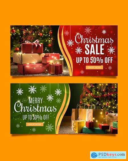 Christmas sales horizontal banner template design