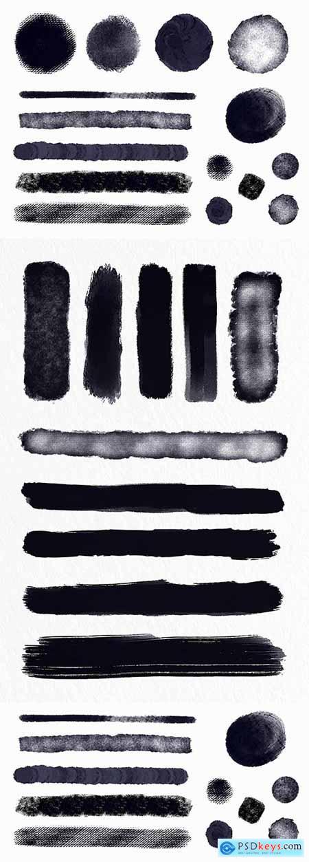 Set illustrations of brush stroke ink wound shapes
