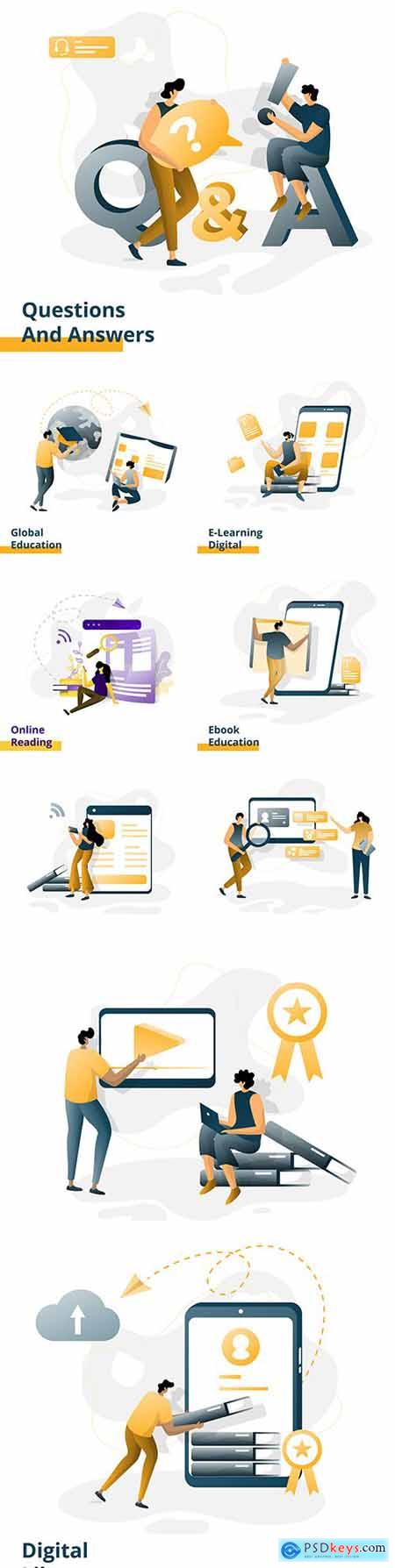 Business people marketing and education online flat design