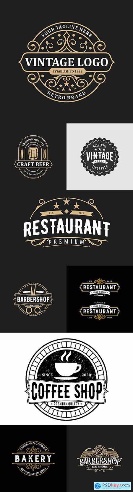 Vintage logo for restaurant and salon brand name design