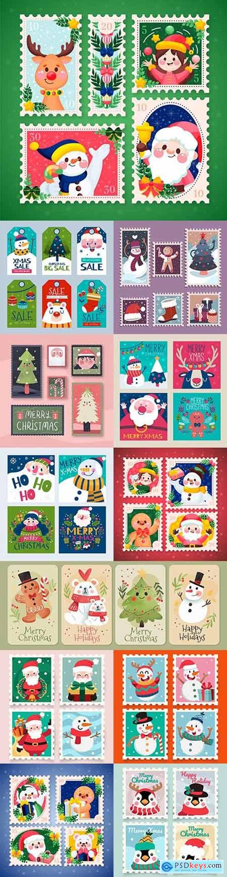 Christmas stamps and postcards flat design collection painted 4