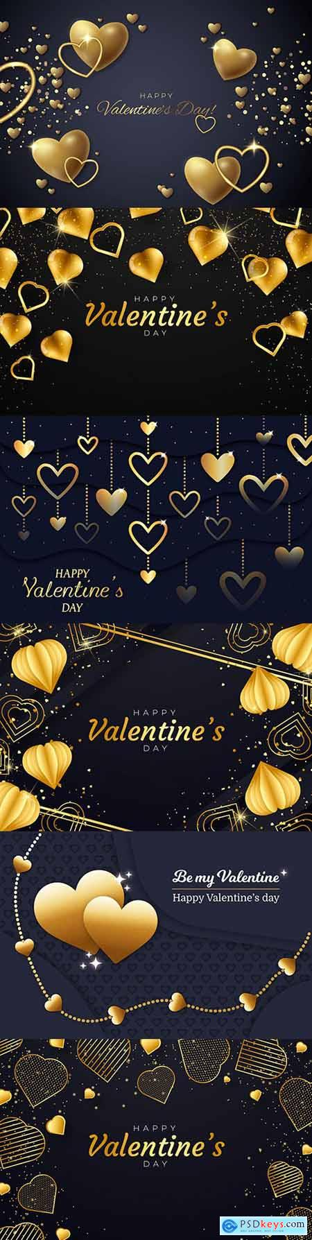 Valentines Day background with golden hearts and elements