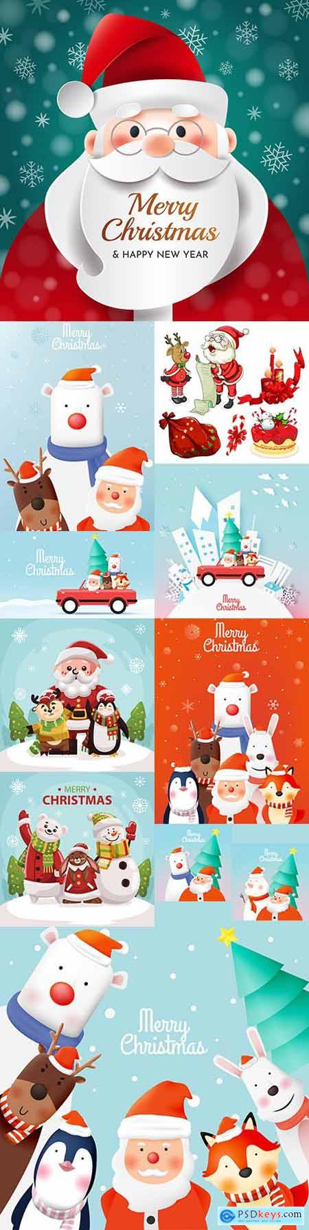 Santa Claus and friends animal cute New Year characters illustrations