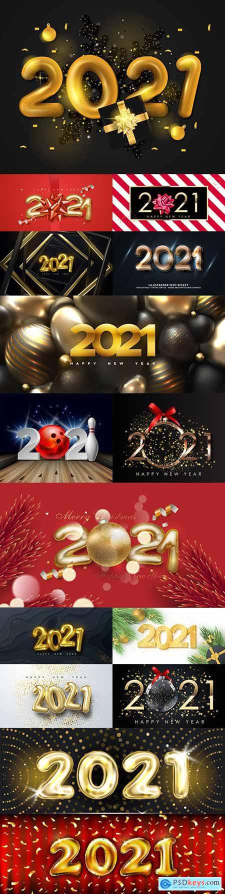 2021 New Years illustrations Festive design inscription 5