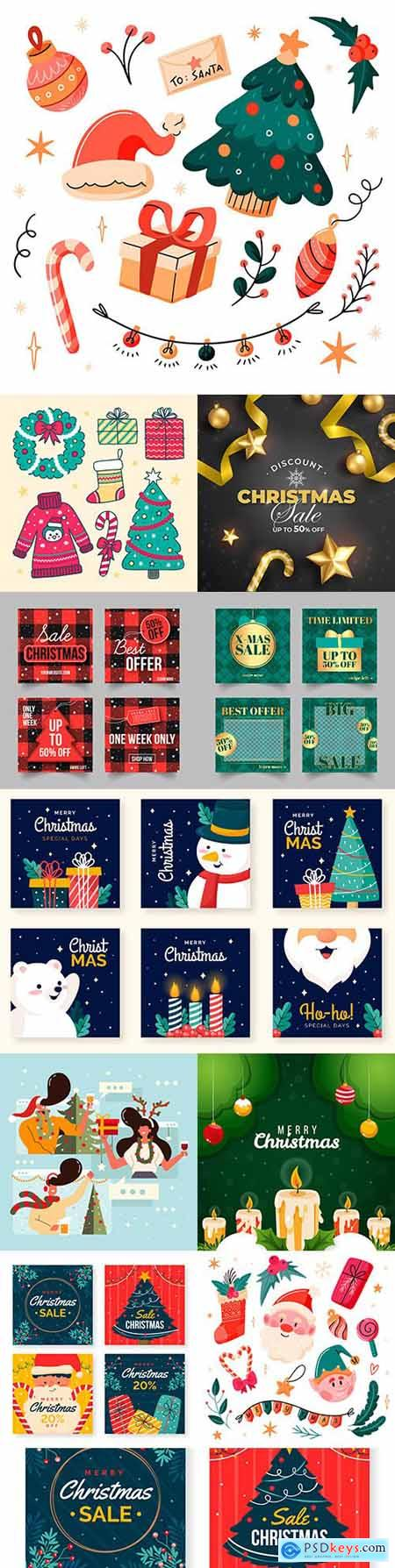 Christmas sale on instagram and painted theme elements