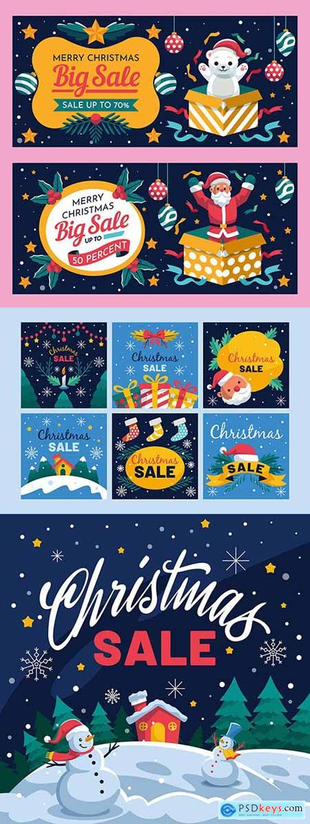Merry Christmas sale special flat design elements