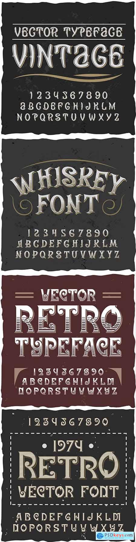 Retro alphabet with editable richly decorated text and numbers