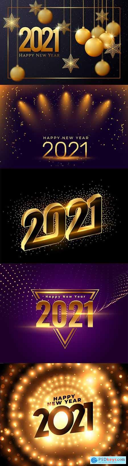 New Year 2021 background with realistic gold decor