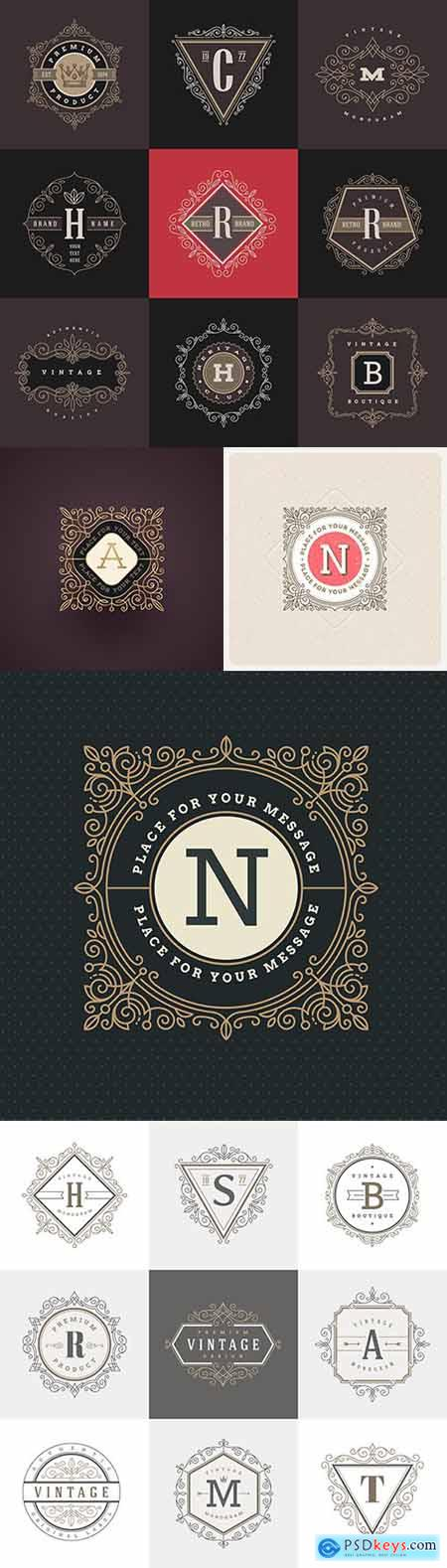 Monogram vintage calligraphic decoration emblem design