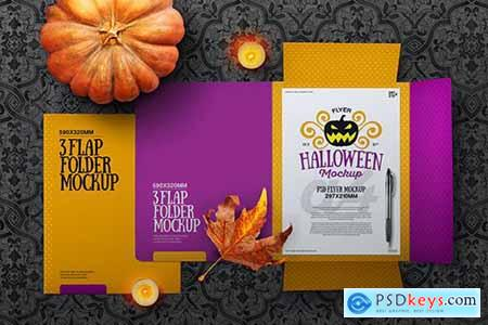 Halloween Autumn Stationery Flap Folder Mockup592