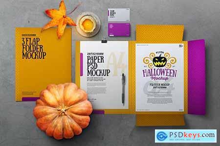 Halloween Autumn Stationery Flap Folder Mockup