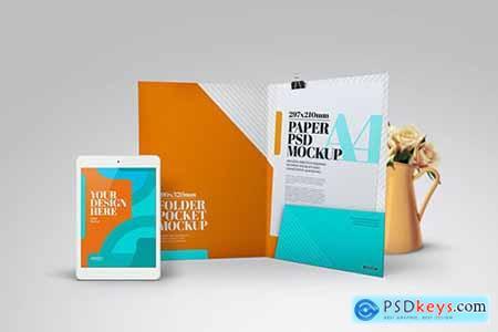 Folder Pocket Tablet Front View Mockup