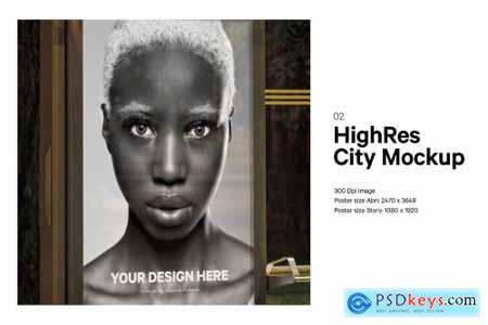 8x Night City Poster Mockup Bundle 5263138