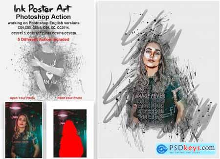 Ink Poster Art Photoshop Action 5435418